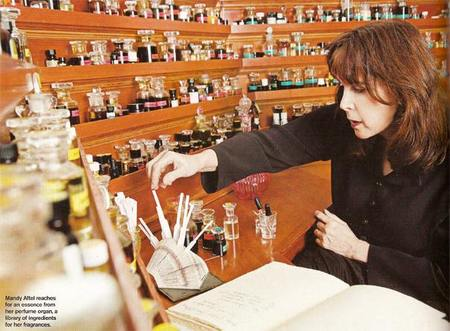 Mandy Aftel at her perfume organ