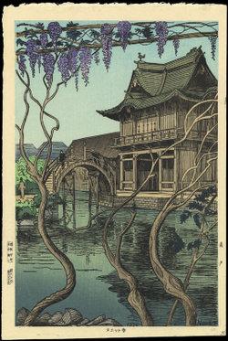 """Kameido Shrine"" with wisteria, Noel Nouet, 1936"