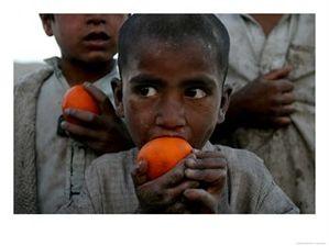 Refugee Boys Eat Tangerines