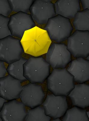 Lonely Yellow Umbrella
